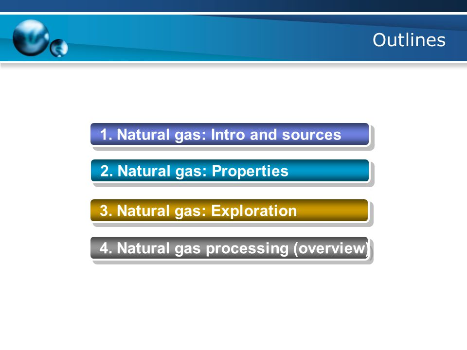 Outlines 1. Natural gas: Intro and sources 2. Natural gas: Properties