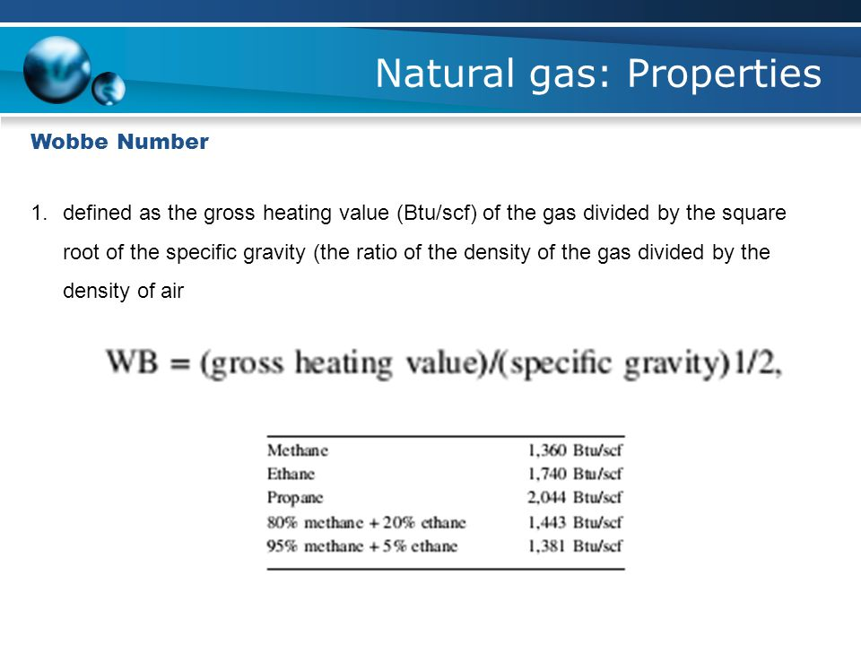 Natural gas: Properties
