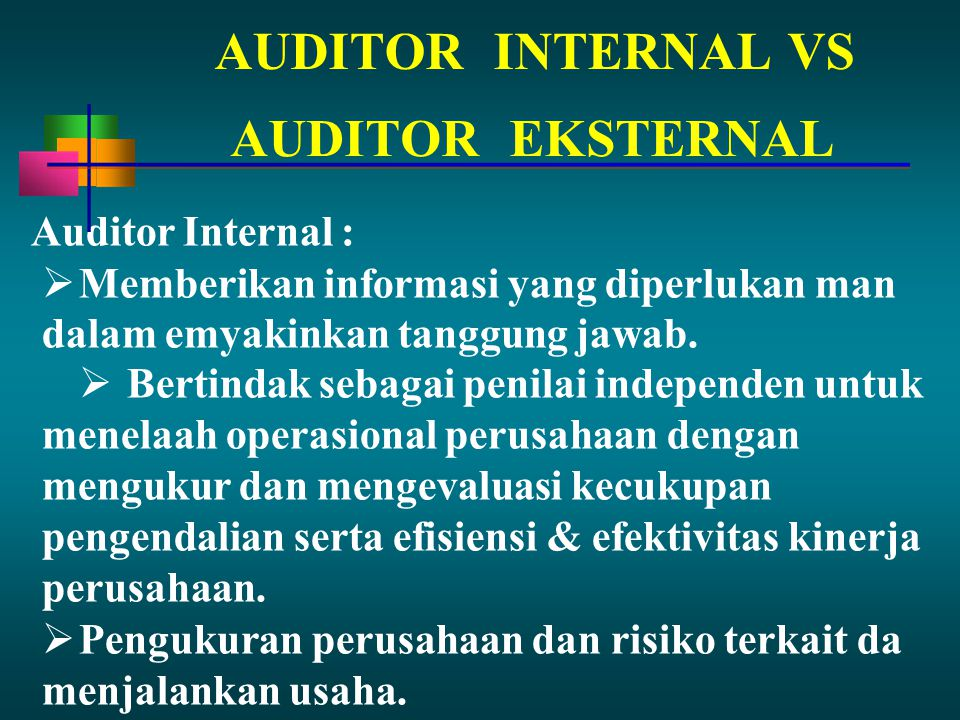 AUDITOR INTERNAL VS AUDITOR EKSTERNAL Auditor Internal :