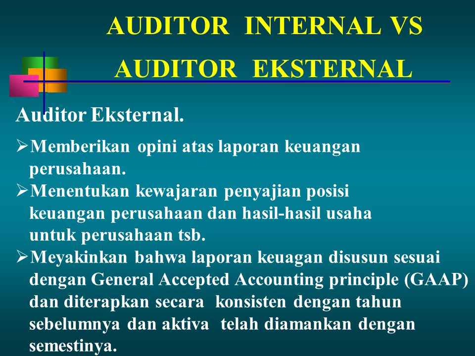 AUDITOR INTERNAL VS AUDITOR EKSTERNAL Auditor Eksternal.