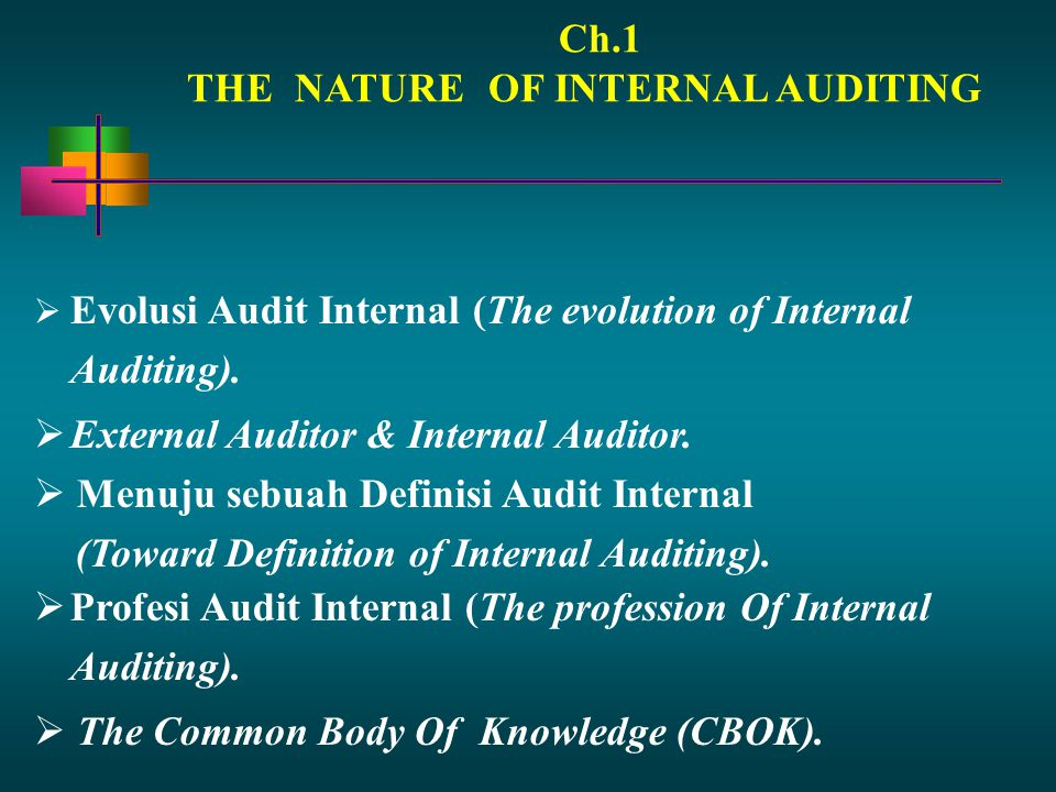 Ch.1 THE NATURE OF INTERNAL AUDITING. Evolusi Audit Internal (The evolution of Internal Auditing).