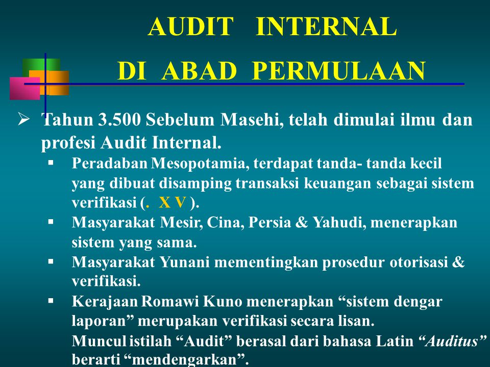 AUDIT INTERNAL DI ABAD PERMULAAN