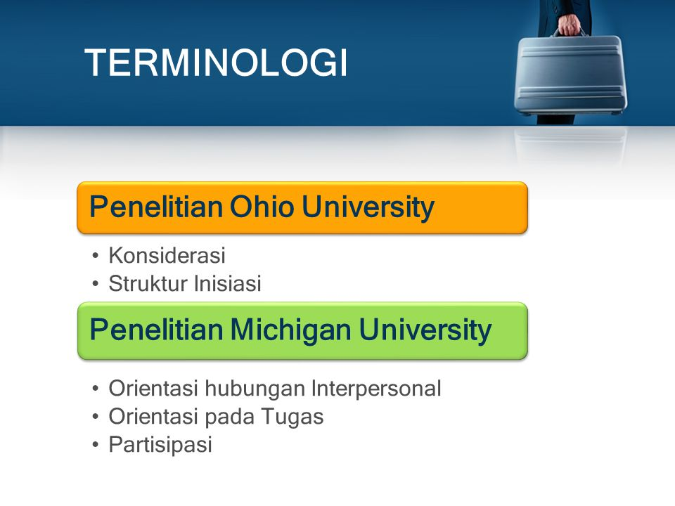 TERMINOLOGI Penelitian Michigan University Penelitian Ohio University