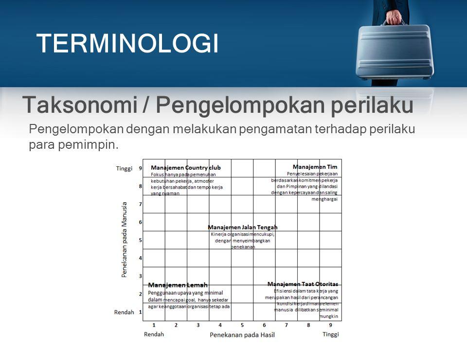 TERMINOLOGI Taksonomi / Pengelompokan perilaku
