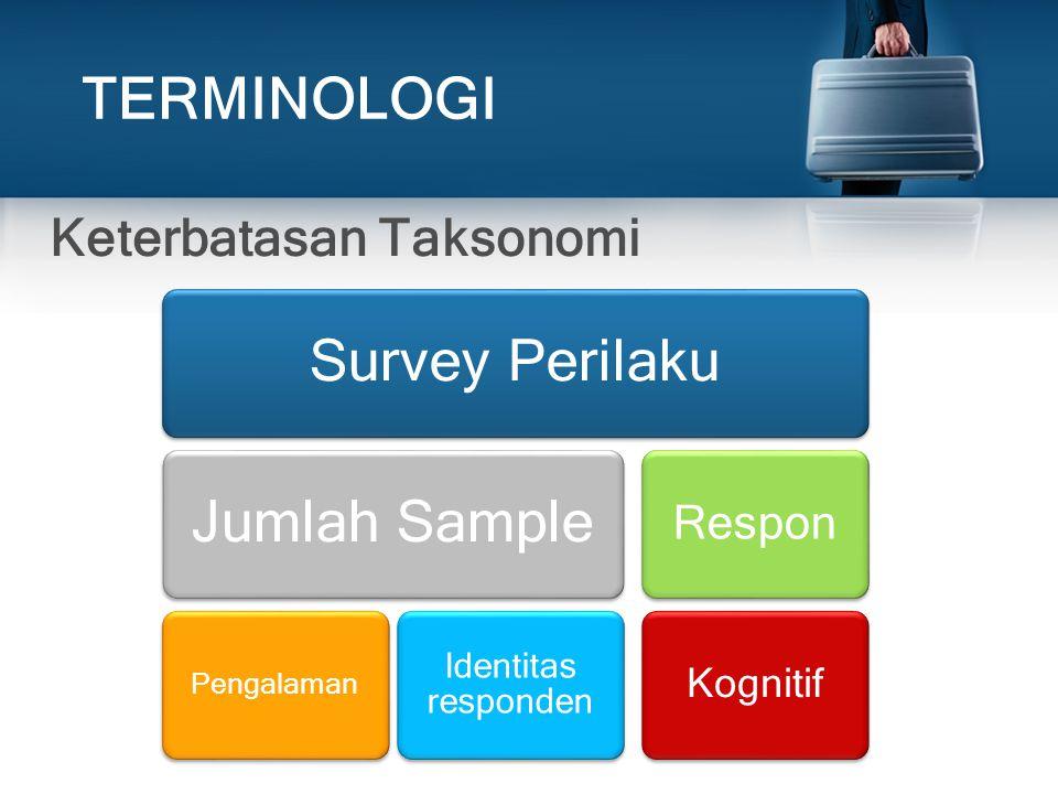 TERMINOLOGI Jumlah Sample Survey Perilaku Keterbatasan Taksonomi
