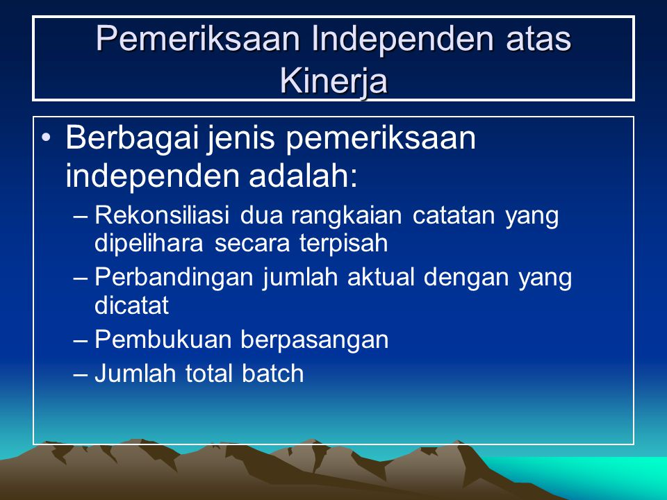 Pemeriksaan Independen atas Kinerja