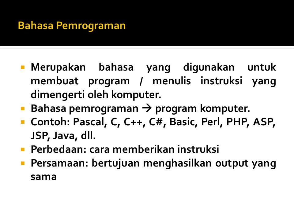 Bahasa Pemrograman Merupakan bahasa yang digunakan untuk membuat program / menulis instruksi yang dimengerti oleh komputer.