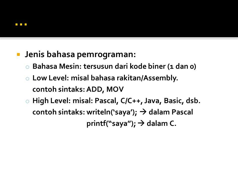 ... Jenis bahasa pemrograman: