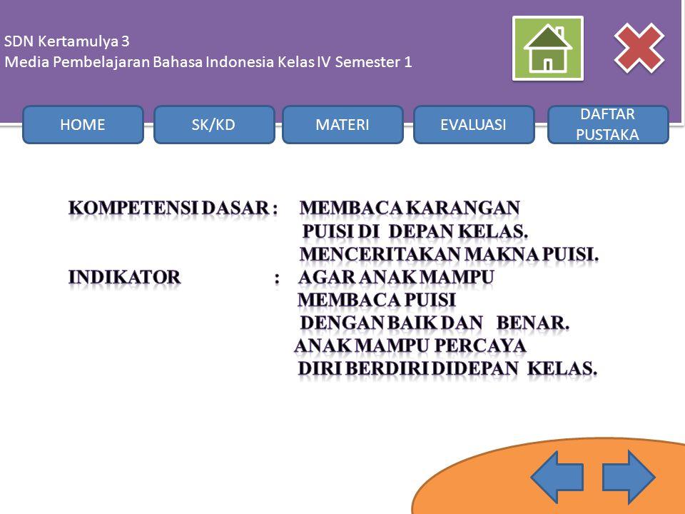 SDN Kertamulya 3 Media Pembelajaran Bahasa Indonesia Kelas IV Semester 1. HOME. SK/KD. MATERI. EVALUASI.