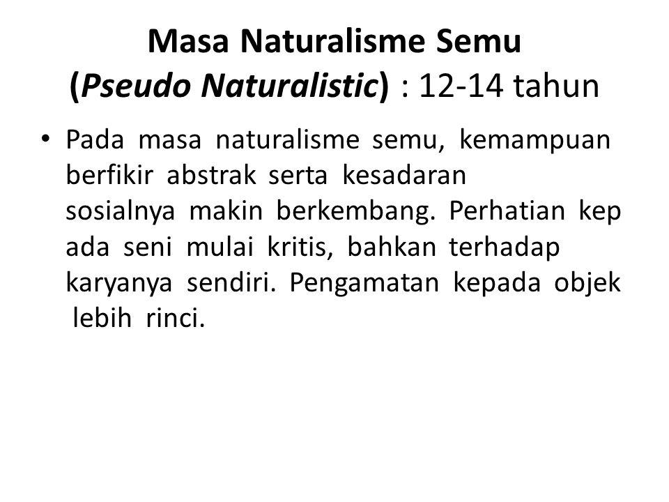 Masa Naturalisme Semu (Pseudo Naturalistic) : 12-14 tahun
