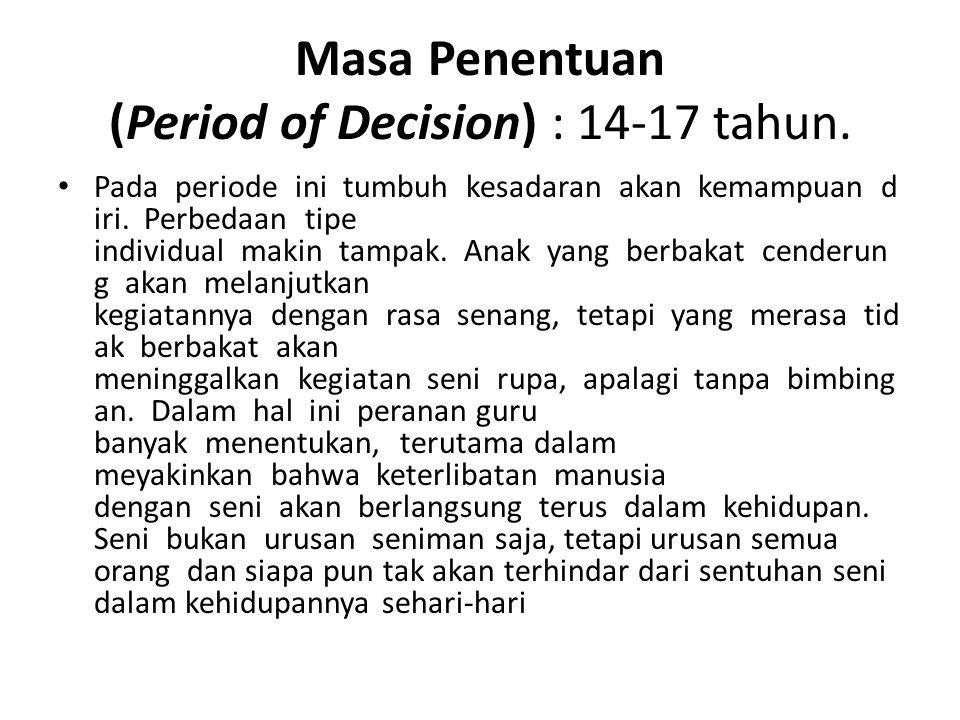 Masa Penentuan (Period of Decision) : 14-17 tahun.