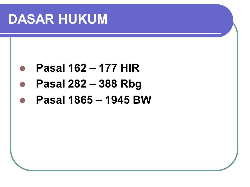 DASAR HUKUM Pasal 162 – 177 HIR Pasal 282 – 388 Rbg