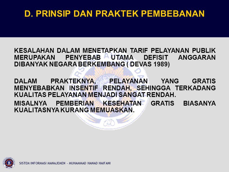 D. PRINSIP DAN PRAKTEK PEMBEBANAN