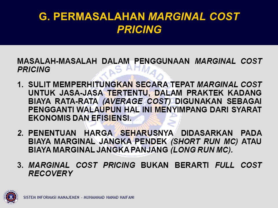 G. PERMASALAHAN MARGINAL COST PRICING