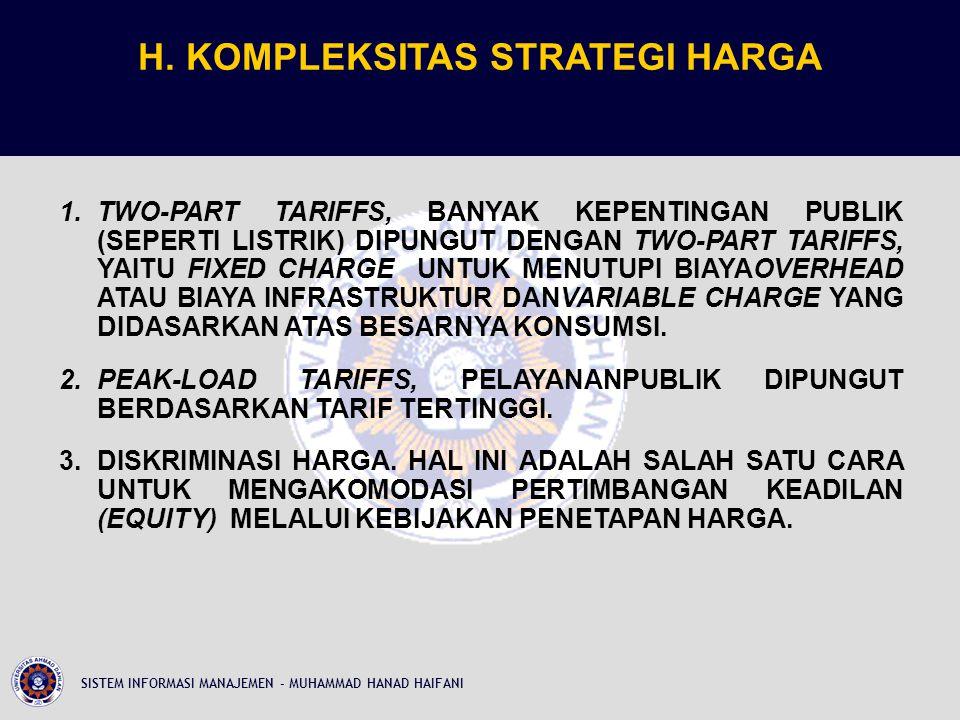 H. KOMPLEKSITAS STRATEGI HARGA