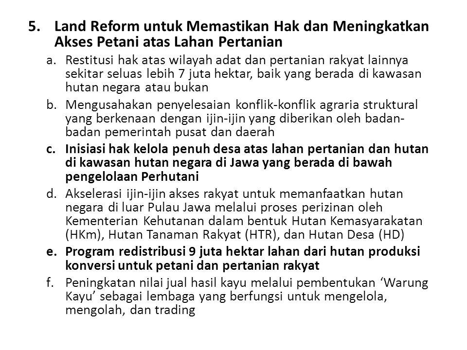 Land Reform untuk Memastikan Hak dan Meningkatkan Akses Petani atas Lahan Pertanian