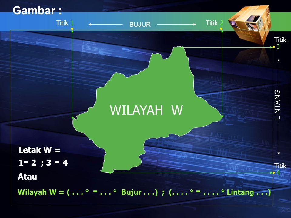 WILAYAH W Gambar : Letak W = 1- 2 ; 3 - 4 Atau LINTANG
