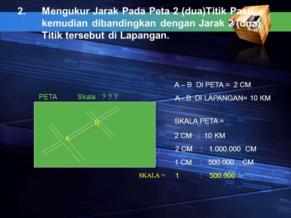 Mengukur Jarak Pada Peta 2 (dua)Titik Pasti, kemudian dibandingkan dengan Jarak 2 (dua) Titik tersebut di Lapangan.