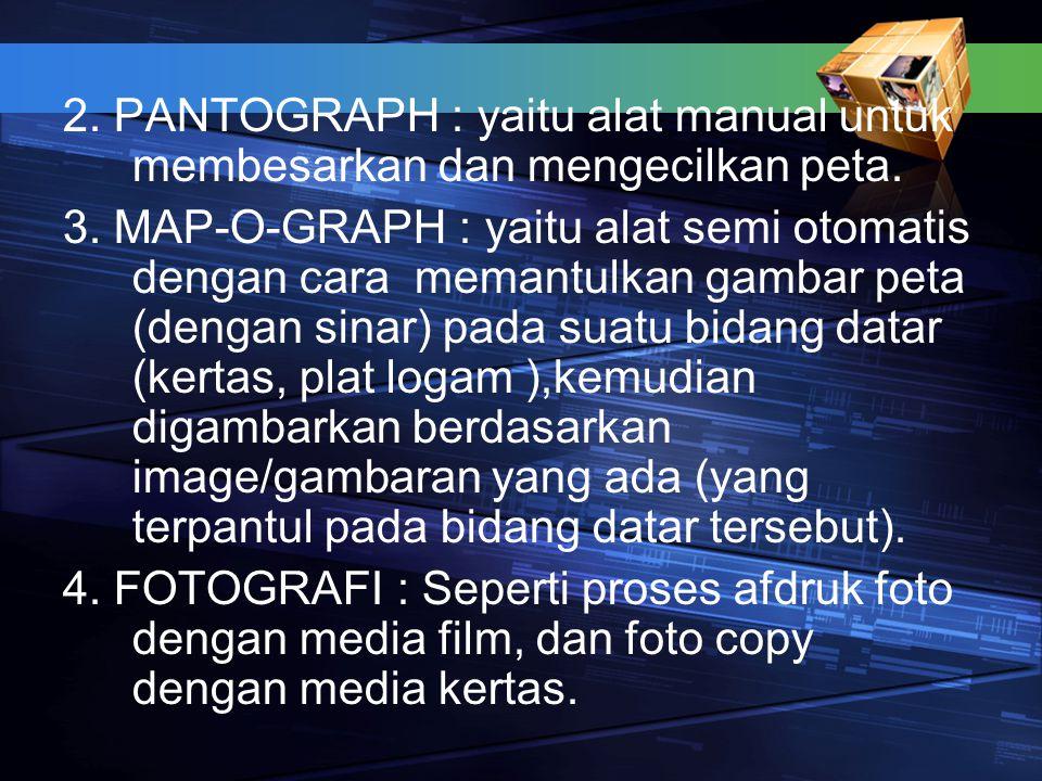 2. PANTOGRAPH : yaitu alat manual untuk membesarkan dan mengecilkan peta.