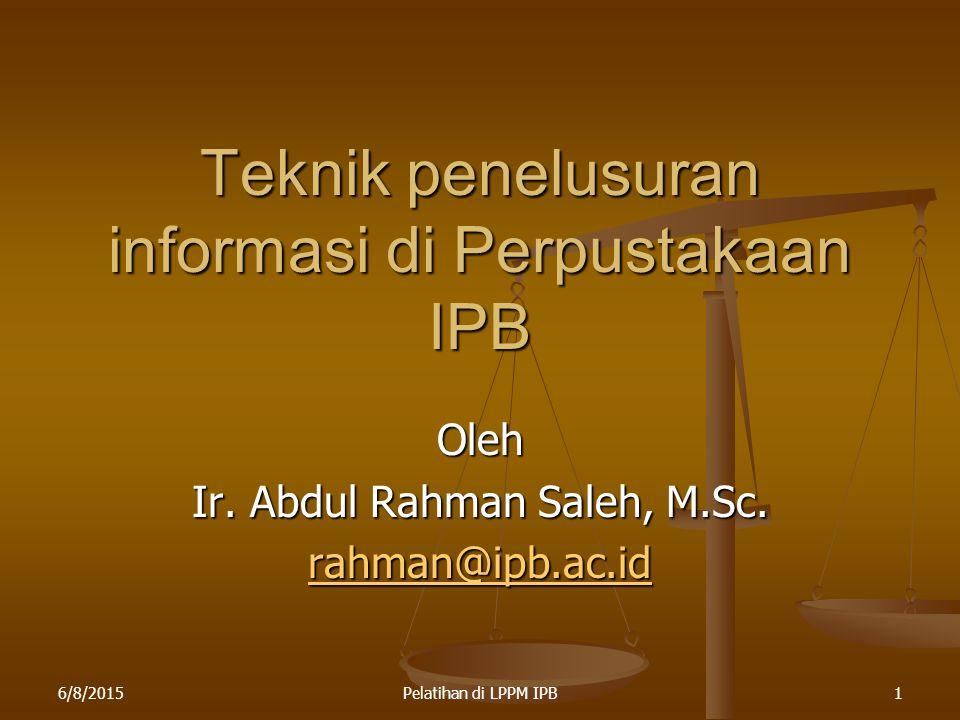 Teknik penelusuran informasi di Perpustakaan IPB