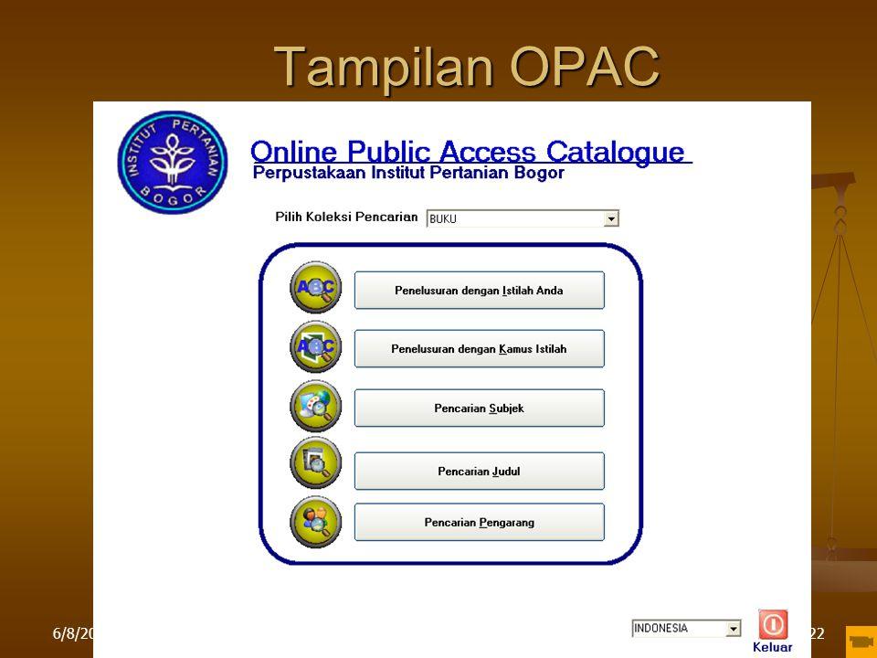 Tampilan OPAC 4/16/2017 Pelatihan di LPPM IPB