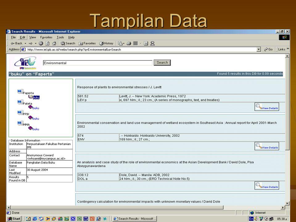 Tampilan Data 4/16/2017 Pelatihan di LPPM IPB