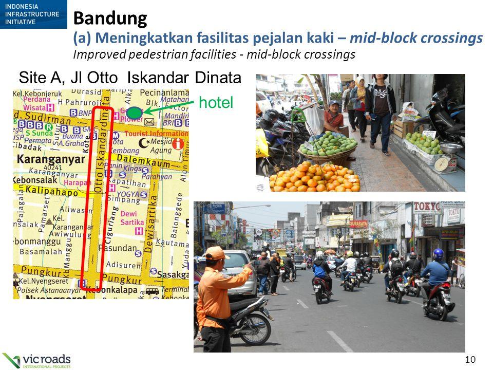 Bandung (a) Meningkatkan fasilitas pejalan kaki – mid-block crossings