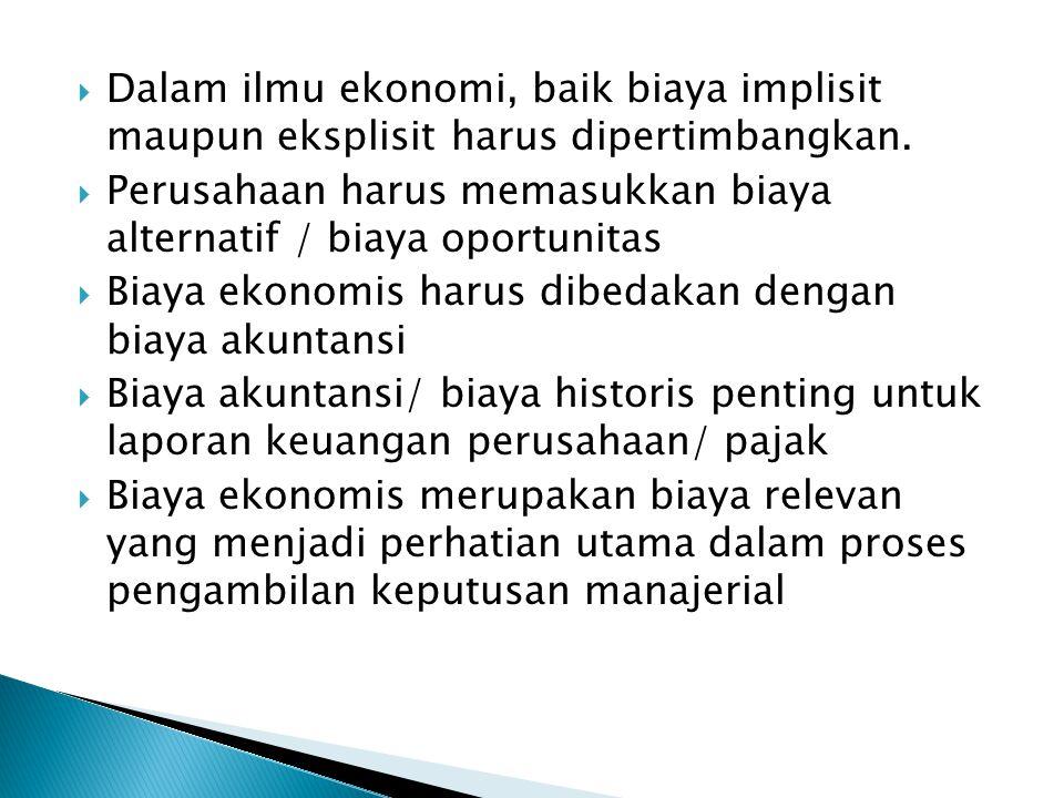 Dalam ilmu ekonomi, baik biaya implisit maupun eksplisit harus dipertimbangkan.