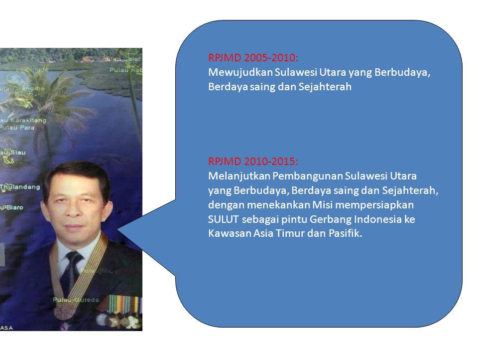 Visi Gubernur RPJMD 2005-2010: Mewujudkan Sulawesi Utara yang Berbudaya, Berdaya saing dan Sejahterah.