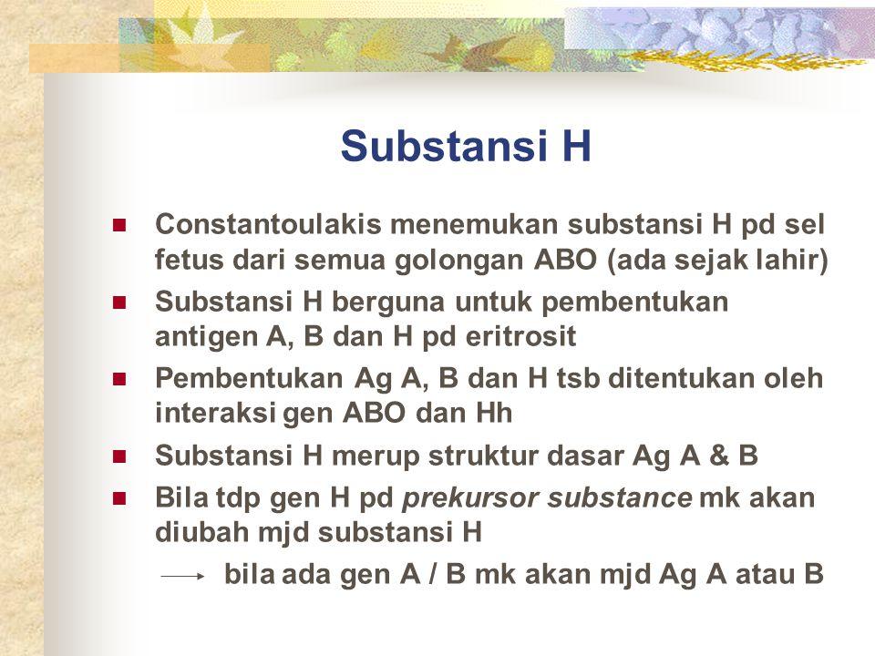 Substansi H Constantoulakis menemukan substansi H pd sel fetus dari semua golongan ABO (ada sejak lahir)