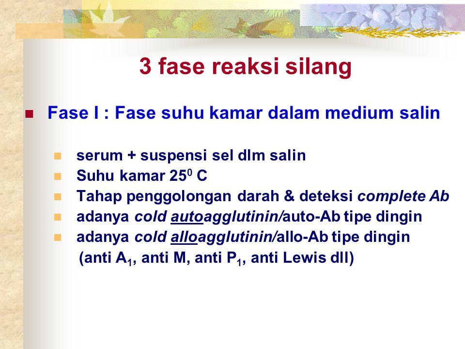 3 fase reaksi silang Fase I : Fase suhu kamar dalam medium salin