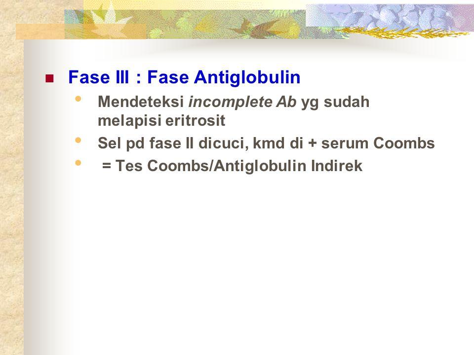Fase III : Fase Antiglobulin