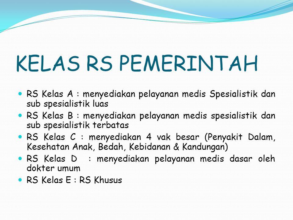 KELAS RS PEMERINTAH RS Kelas A : menyediakan pelayanan medis Spesialistik dan sub spesialistik luas.