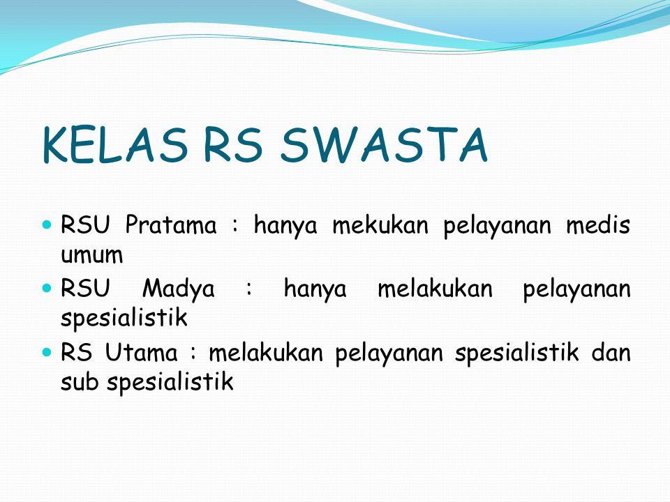 KELAS RS SWASTA RSU Pratama : hanya mekukan pelayanan medis umum
