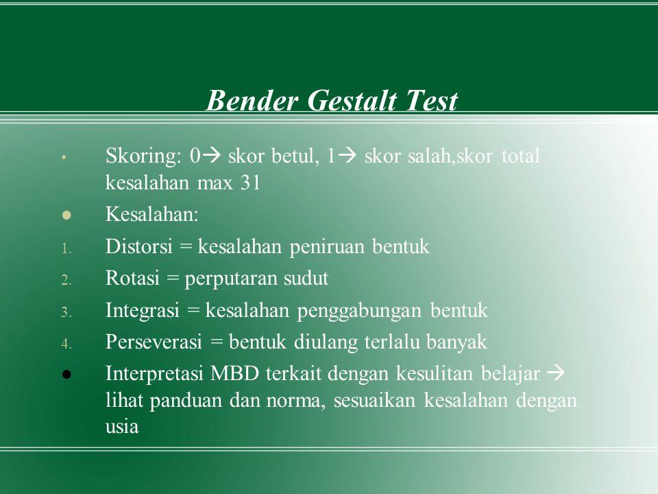 Bender Gestalt Test Skoring: 0 skor betul, 1 skor salah,skor total kesalahan max 31. Kesalahan: