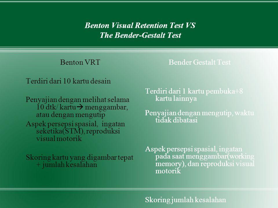 Benton Visual Retention Test VS The Bender-Gestalt Test