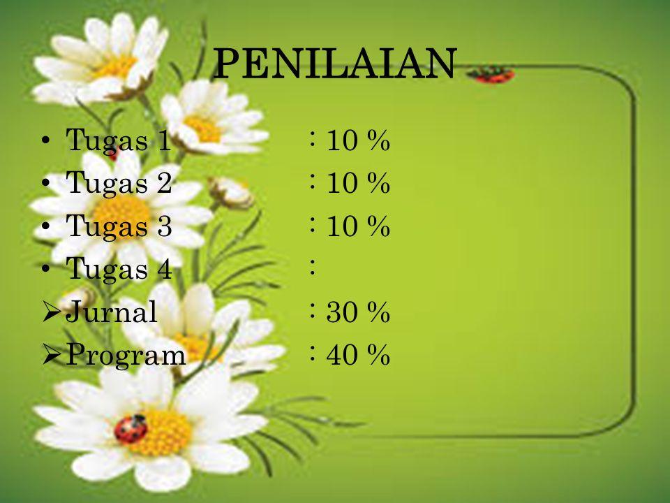 PENILAIAN Tugas 1 : 10 % Tugas 2 : 10 % Tugas 3 : 10 % Tugas 4 :