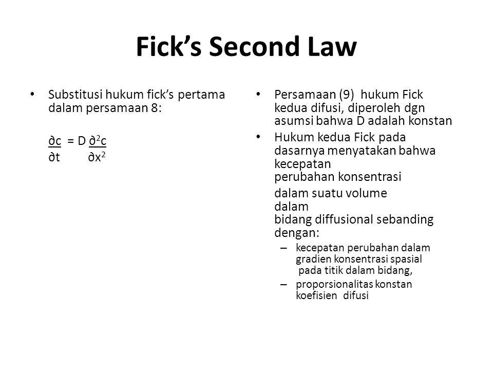 Fick's Second Law Substitusi hukum fick's pertama dalam persamaan 8: