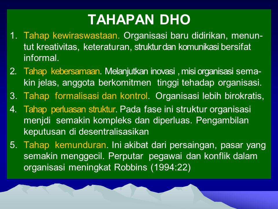 TAHAPAN DHO Tahap kewiraswastaan. Organisasi baru didirikan, menun-tut kreativitas, keteraturan, struktur dan komunikasi bersifat informal.