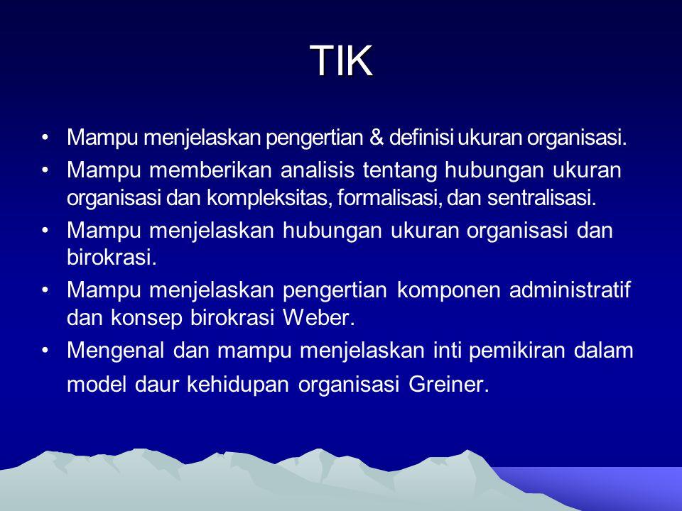 TIK Mampu menjelaskan pengertian & definisi ukuran organisasi.