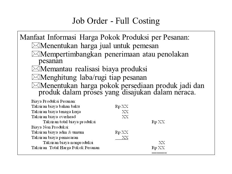 Job Order - Full Costing