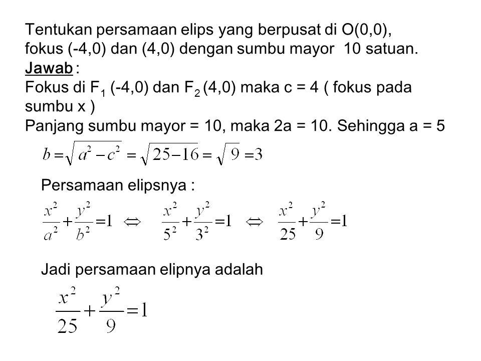 Tentukan persamaan elips yang berpusat di O(0,0),