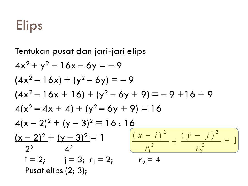 Elips Tentukan pusat dan jari-jari elips 4x2 + y2 – 16x – 6y = – 9