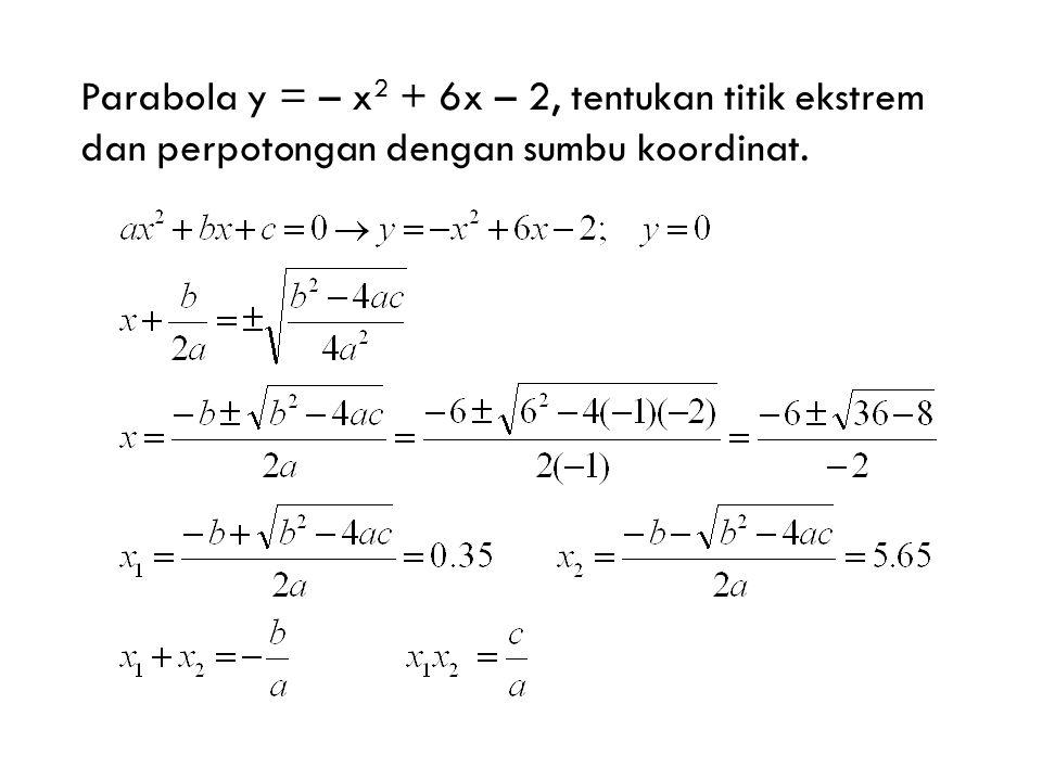 Parabola y = – x2 + 6x – 2, tentukan titik ekstrem dan perpotongan dengan sumbu koordinat.
