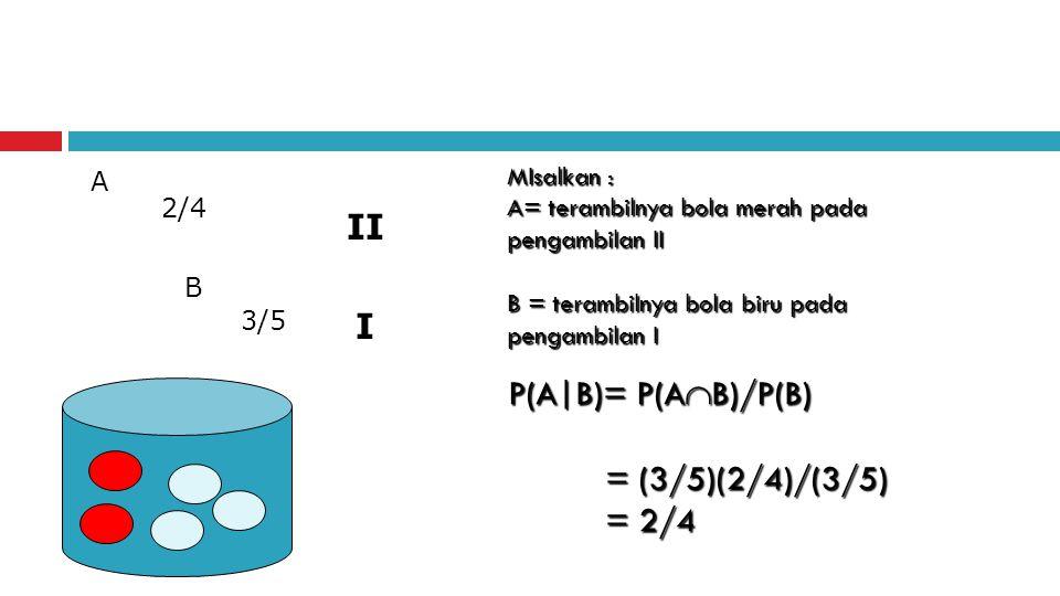 II I P(A|B)= P(AB)/P(B) = (3/5)(2/4)/(3/5) = 2/4 MIsalkan : A
