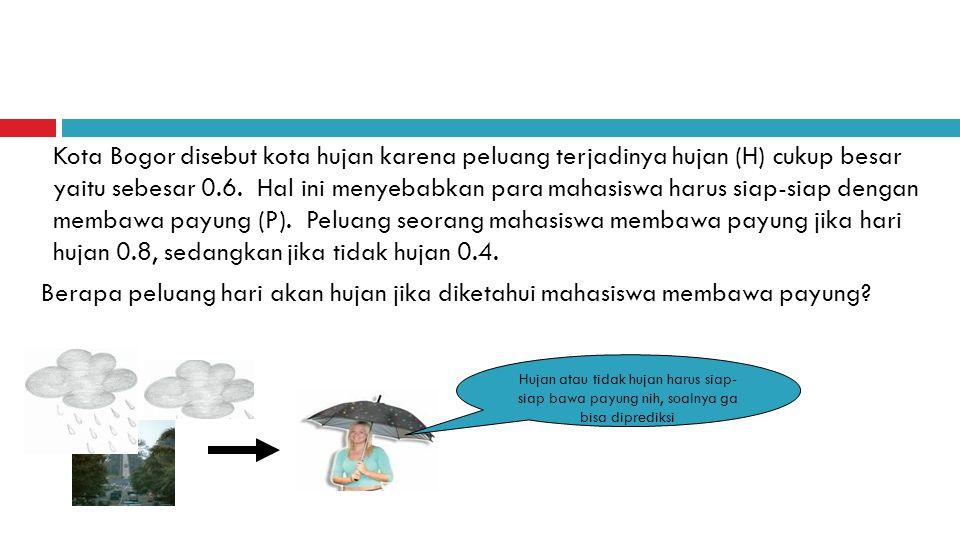 Kota Bogor disebut kota hujan karena peluang terjadinya hujan (H) cukup besar yaitu sebesar 0.6. Hal ini menyebabkan para mahasiswa harus siap-siap dengan membawa payung (P). Peluang seorang mahasiswa membawa payung jika hari hujan 0.8, sedangkan jika tidak hujan 0.4.