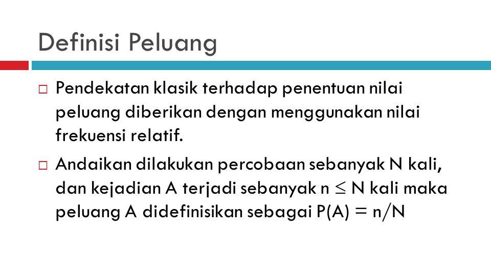 Definisi Peluang Pendekatan klasik terhadap penentuan nilai peluang diberikan dengan menggunakan nilai frekuensi relatif.
