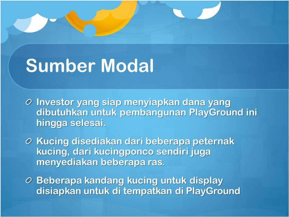 Sumber Modal Investor yang siap menyiapkan dana yang dibutuhkan untuk pembangunan PlayGround ini hingga selesai.