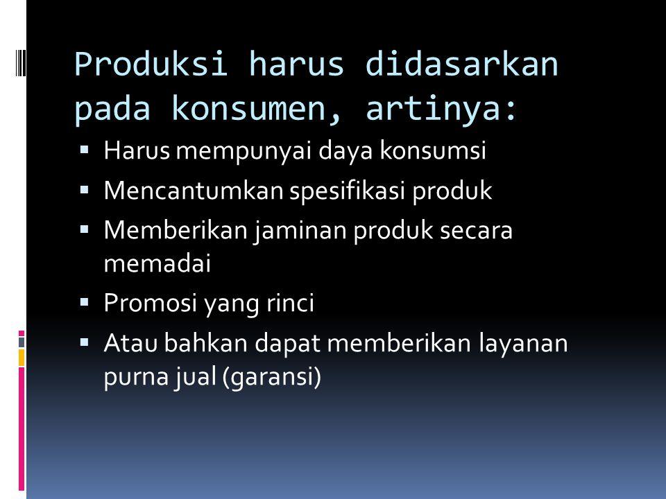 Produksi harus didasarkan pada konsumen, artinya: