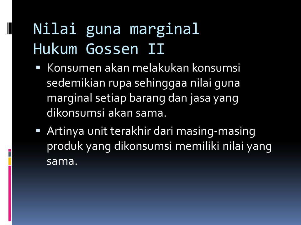 Nilai guna marginal Hukum Gossen II